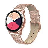 SWEES Leather Band Compatible for Samsung Galaxy Watch 3 41mm / Galaxy Watch Active 40mm /Active 2 44mm/Galaxy Watch 42mm, 20mm Genuine Leather Slim Replacement Bands for Women Men, Glitter Rose Gold