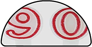 90th Birthday Decorations Comfortable Semicircle Mat,Burning Birthday Candles in Red and White Desert Pastry for Living Room,25.9