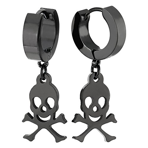 2 Negro Pendientes del Aro con Colgantes Pirata Cráneo, Pendientes para Hombres Mujer, Acero Inoxidable