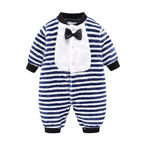 Hui.Hui Bébé Combinaison Peluche Body Barboteuse à Manches Longues en Dessin Animé Vêtements en Coton Bowknot Rayure Imprimé Jumpsuit pour Garçon et Fille