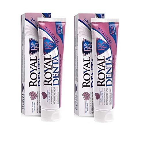Royal Denta Sensitive Fluoride Free - Remineraliserende tandpasta voor gezondere sterkere tanden, met Q10 co-enzym, extra groot pakket van 2 er (2 x 130 g)