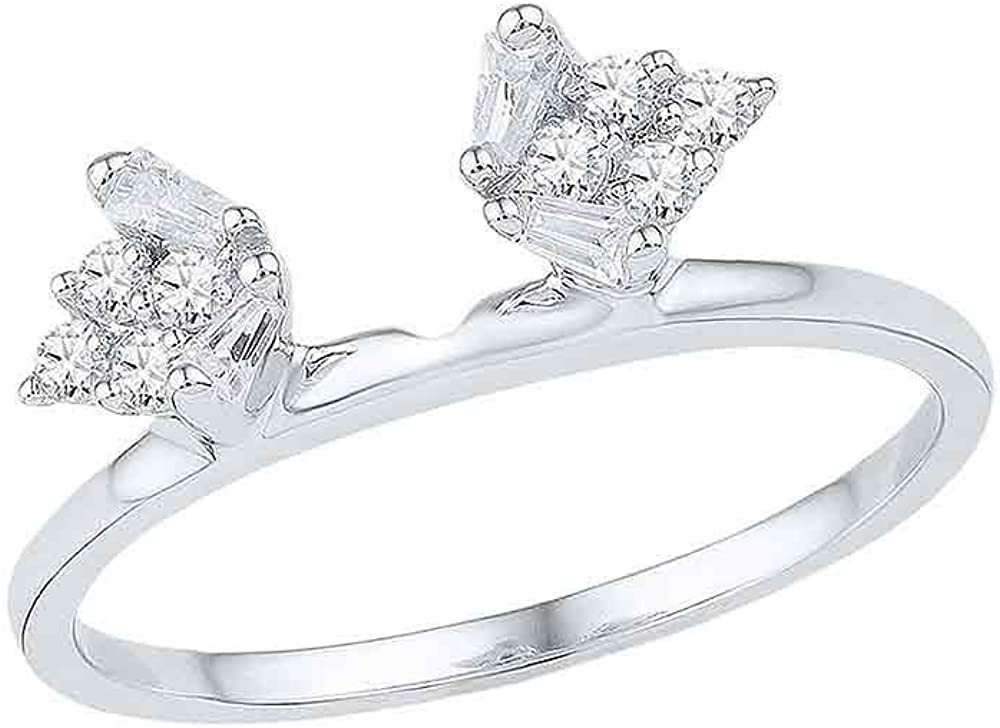 14kt White Gold Womens Baguette Diamond Ring Guard Wrap Solitaire Enhancer 1/4 Cttw