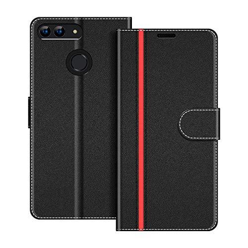 COODIO Custodia per Huawei P Smart 5.65 Pollici, Custodia in Pelle Huawei P Smart, Cover a Libro Huawei P Smart Magnetica Portafoglio per Huawei P Smart Cover, Nero/Rosso