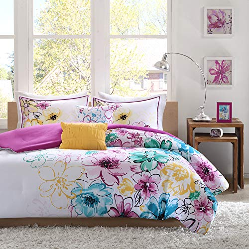Intelligent Design Olivia Comforter Twin XL Size-Purple Blue, Floral – 4 Piece Sets – Ultra Soft Microfiber Teen Bedding for Girls Bedroom, Twin/Twin X-Large