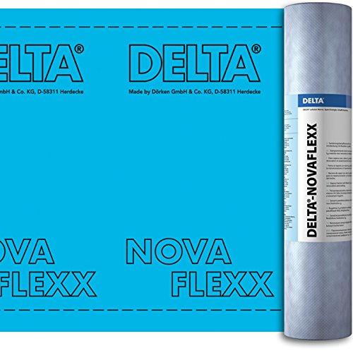 Dörken Delta Novaflexx Sanierungs-Dampfbremse 1,50 x 50 m Luft- und Dampfbremsfolie mit variablen Sd-Wert für Steil-Dach Ausbauten innen und außen