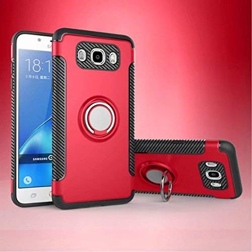 Cubierta Durable Armor de doble capa 2 en 1, soporte de anillo giratorio de 360 grados y diseño de soporte magnético para automóvil compatible con Samsung Galaxy J7 2016 J710 (Color: Navy)