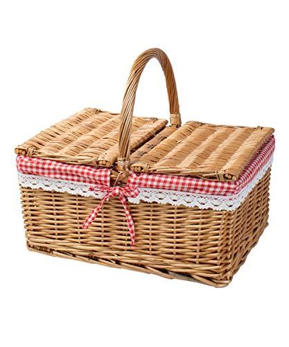 Picknickkorb Für 2 Personen Hochwertiger Mit 2 Deckeln Weidenkorb Vollweide Geflochten Tragekorb Einkaufskorb 40 * 20CM