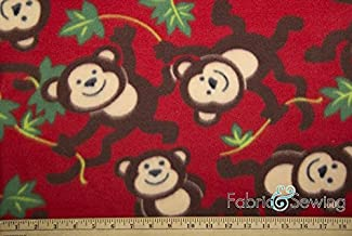 Monkey Business Red Anti-Pill Polar Fleece Fabric Polyester 13 Oz 58-60