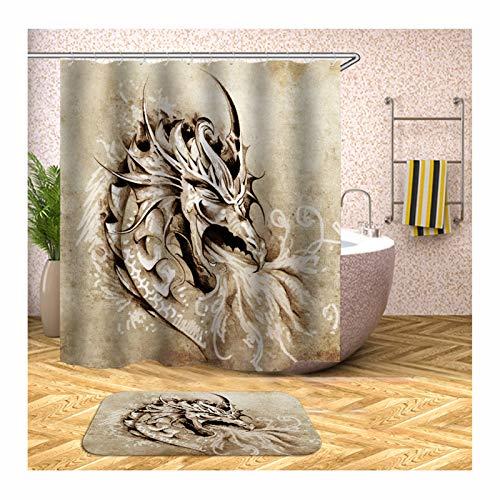 ANAZOZ Duschvorhang+Badematte Set 3D-Effekt Wasserdicht, Anti Schimmel, Waschbar Umweltfre&lich mit 12 Duschvorhangringen Polyester Drachen Badteppich-Set Bunt 180X200CM A4122
