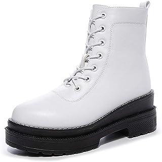 Chunky Platform Enkel Laarzen Voor Vrouwen, Lace Up Zip High Heel Combat Wedge Enkellaarsjes,White autumn,35