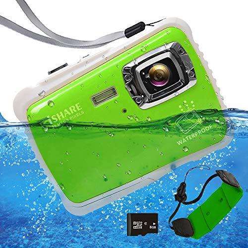 "Waterproof Digital Camera for Kids, ISHARE 21MP Kids Camera 3M Underwater 2.0"" LCD, 8X Digital Zoom, Flash Mic for Girls/Boys (Green Float Strap 8G Card)"