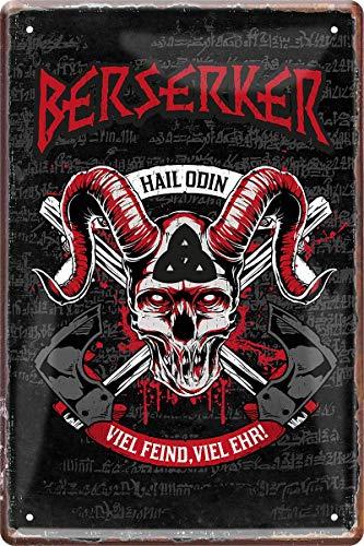 Berserker Hail Odin Germane Wikinger 20 x 30 cm Deko Blechschild 47