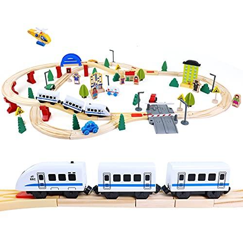 Trenino Elettrico Pista Macchinine Giocattoli in Legno per Bambini 93 Pezzi Treno Elettrico Giochi in Lengo Educativi Regalo per Bambini Bambina 3 4 5 6 7 Anni