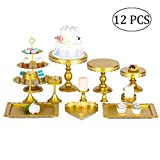 12 Pièces/Set Métal Antique Porte-gâteaux Présentoirs à Gâteau pour Le Mariage Anniversaire Fête Événement Dessert Cupcake Piédestal