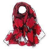 yfzyt lady donna elegante scialle sciarpa morbida collo wrap foulard stola con motivo foglie ricamate - fiore rosso