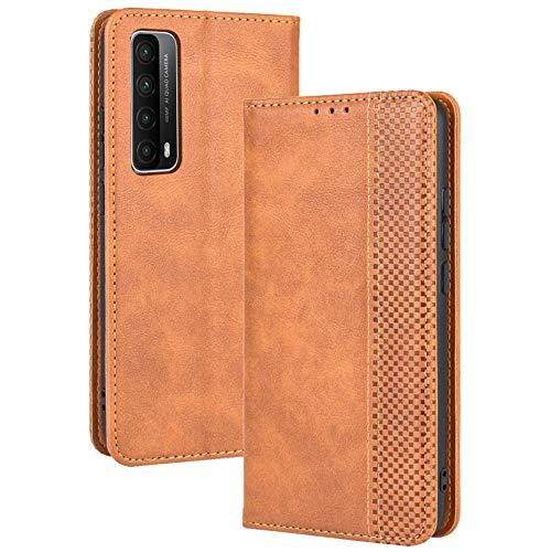 TANYO Cover Custodia Folio in Pelle per Huawei P Smart 2021, Premium PU/TPU Portafoglio Case con Slot per Schede, Flip Wallet Libro - Marrone