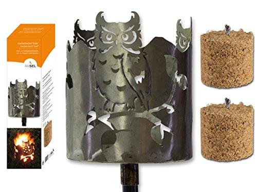 Gartenfackel Eule Metall m. 2 Holzfeuer Höhe 127 cm, Gartendeko, Fackel, Sommer