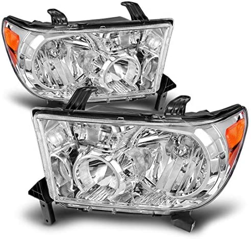 DWVO Headlight Assembly Compatible with Toyota Tundra 2007 2013 Sequoia 2008 2017 Chrome Housing product image