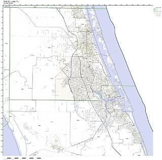 Working Maps Port St. Lucie, FL Zip Code Map Laminated