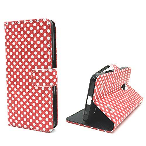 König Design Handyhülle Kompatibel mit ZTE Blade V7 Lite Handytasche Schutzhülle Tasche Flip Hülle mit Kreditkartenfächern - Polka Dot Weiße Punkte Rot