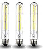 Klarlight Dimmable 6 Watt LED T10 Tubular Light Bulb 60 Watt Incandescent Equivalent E26 Edison Vintage Filament Tube Lamp, Daylight 6000K Medium Base Clear Glass Bulb (3-Pack)