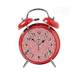 Children's Desk Decor Decorative Alarm Clock Bedside Snooze Double Bell Silent Bedroom Quartz Round Digital Living Room Metal Red Animals and Bird owl Forest Nature