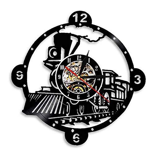 Orologio da Parete Orologio da Parete Locomotiva a Vapore Orologio da Parete Vintage Motore a Vapore, Disco in Vinile, Orologio da Treno, Decorazione da Parete Locomotiva, Regalo Amante del Treno