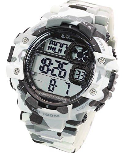 [ラドウェザー]ミリタリーウォッチ サバゲ― アウトドア メンズ腕時計 (カモフラージュホワイト(通常液晶))