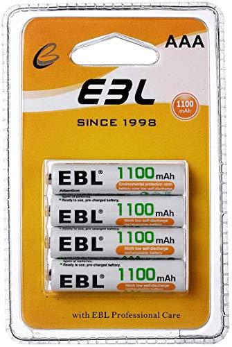 EBL AAA Batterie Ricaricabili Durature, Pile Ricaricabili da 1100mAh Ni-MH con 1200 cicli, Confezione da 4 pezzi