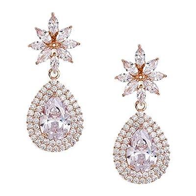 SWEETV Teardrop Dangle Earrings for Wedding,Bridal,Prom-Rose Gold Cubic Zirconia Crystal Rhinestone Dangling Earrings for Women Bride Bridesmaids Jewelry Hypoallergenic