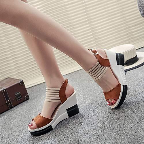 El Verano Sandalias de Las Mujeres cuña La Moda Tacones Altos Chanclas Antideslizante Transpirable Zapatillas Plataforma Zapatos para 16-60 Niña y Dama