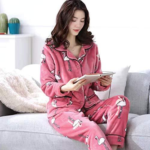 ZHRDRJB Schlafanzug Damen Pyjama Set,Winter 2 Stück Pyjamas Set Flamingo Druck Rosa Lose Warme Flanell Damen Schlafbekleidung Langarm Tops Und Hose Homewear Pyjamas Set, XL