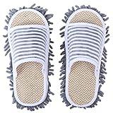 MILISTEN Zapatillas de Fregona Lavable Reutilizable Microfibra Suelo Polvo Limpiador de Pelo Zapatillas de Limpieza Desmontable Zapatos de Fregado para Oficina Hogar Cocina Baño Gris M