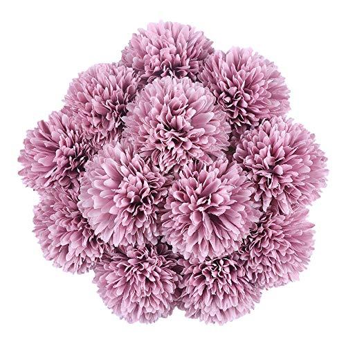 Tifuly Flores de hortensias Artificiales, crisantemo de Seda pequeña Bola de Flores para la decoración de la Oficina de la Fiesta del jardín del hogar, Ramos de Novia (Rosado Morado-12 Piezas)