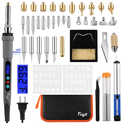 Fuyit 42Pcs LCD Wood Burning Kit, Wood Burner Pyrography Pen with Temperature Control & Various Exchangeable Tips for Wood Burning, Soldering, Carving, Embossing (110V, 60W)
