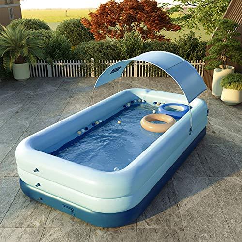 SUN RDPP SchwimmbeckenPVC drahtlose automatische aufblasbare Schwimmbecken Startseite Erwachsener Groß Pool Kinder Überdachter Außen Shade Pool,Blau,318×180×68cm