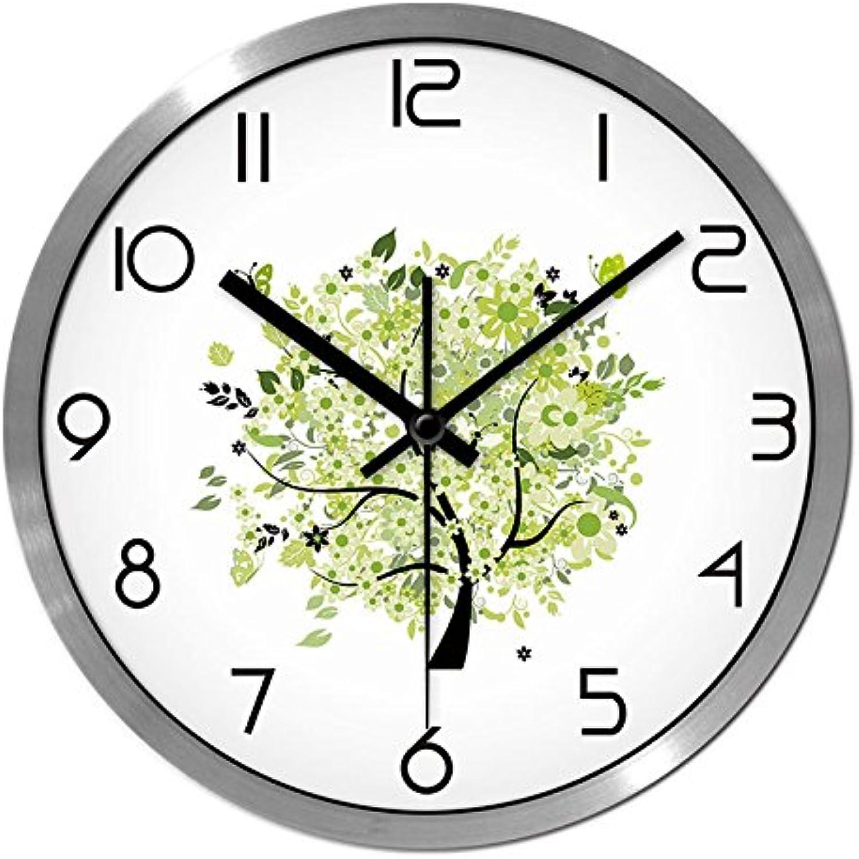 gran descuento Komo silencioso Moderno Decoración Adorno para para para Hogar El verdeery Fresco y Minimalista salón Reloj de Parojo Reloj de Parojo Reloj de Cuarzo de Silencio,12 Pulgadas, Plata  ofreciendo 100%