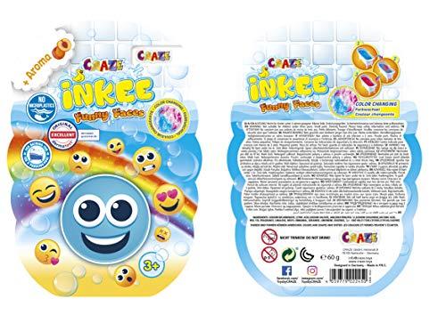 CRAZE INKEE Funny Faces Farbwechsel Badebombe Schaumbad Hund Einhorn Ananas Emoji Farbbad 22450, Badespaß für Kinder
