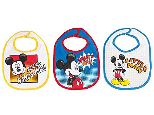 lulabi Disney Mickey, set van 3 slabbetjes, katoen, 19 x 17 cm, 0 maanden, lichtblauw