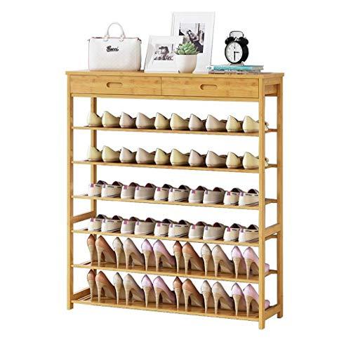 PIVFEDQX Zapatero para Muebles, 6 Niveles de bambú Extensible apilable con 2 cajones de Almacenamiento Organizador de pie para 24-36 Pares de Zapatos (tamaño: 90 * 25 * 104 cm)