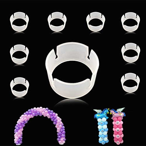 GuassLee 100pcs Balloon Ring Clips for Balloon Arch and Balloons Column Stand Party Decoration Accessory Balloon Buckle Clear