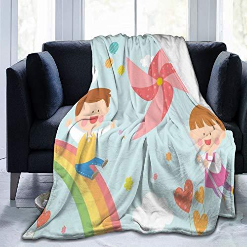 Flanelldecke Leichtes Superweiches,Children Riding On Rainbow Dreamy Heart Shaped Flowers Fairy Tale Nursery Kids,Decke mit weichem Anti-Pilling-Flanell für Erwachsene und Kinder 3D-Druck 50'x40'