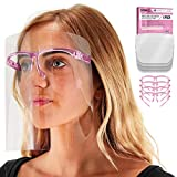 TCP Global Salon World Safety Face Shields with Pink Glasses Frames (Pack of 4) - Ultra Clear Protective Full Face Shields to Protect Eyes, Nose, Mouth - Anti-Fog PET Plastic, Goggles