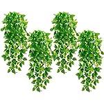 Silk Flower Arrangements Whonline 4pcs Artificial Hanging Plants Fake Ivy Vine for Wall Home Porch Garden Wedding Garland OutsideHanging Decoration ( No Basket )