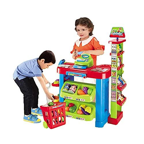 deAO Supermercado Tienda de Juguete Puesto de Mercado Infantil con Carrito de la Compra, Scanner, Caja Registradora y más de 30 Accesorios de Imitación Incluidos