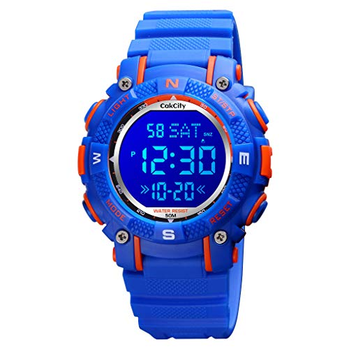 CakCity Kids Digital Sport Watches Outdoor Waterproof LED 7 Color Lights Electronic Watches for Girls Boys with Alarm Stopwatch Child Wrist Watch
