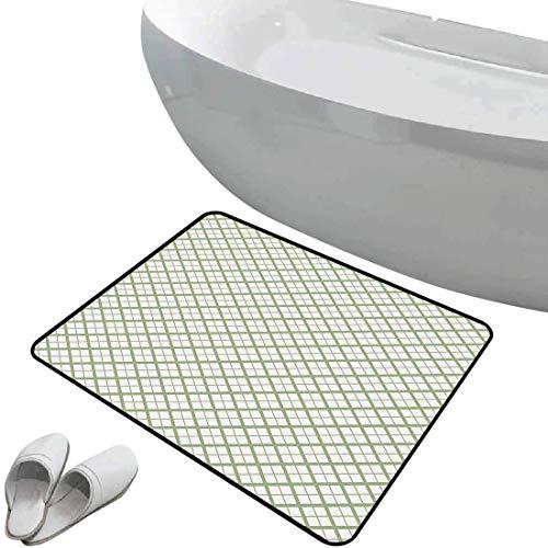Alfombra de baño antideslizante Verde suave antideslizante Mesa de picnic inspirada en un patrón geométrico moderno en formas cuadradas Retro decorativa,verde pistacho y blanco Para ducha Felpudo Dorm