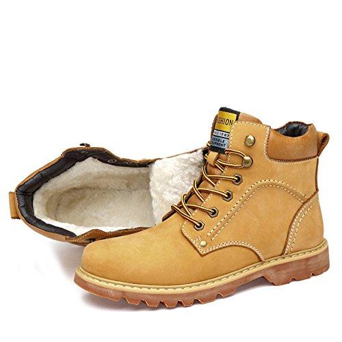 MERRYHE Desert Bottes Hommes Bottines en Cuir Véritable Martin Bottes en Plein Air Sport Chaussures Casual Escalade Montagne Chaussures,Yellow/Fur-42