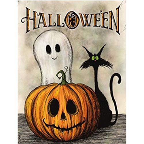 SKRYUIE 5D Diamond Painting Halloween Ghost Pumpkin CatFull Drill by Number Kits, DIY Craft Paint with Diamonds Arts Embroidery Cross Stitch Decorations (12x16inch)