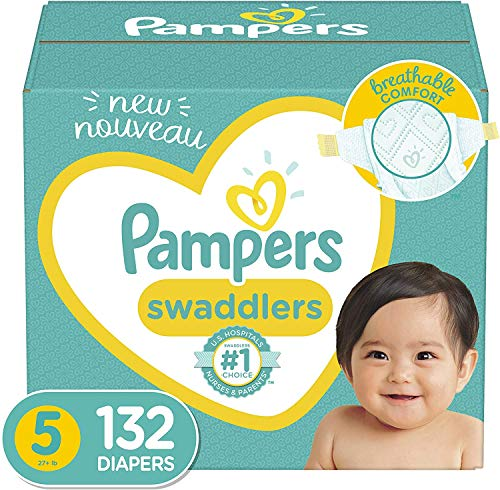 Baby Diapers Size 5, 132 Count - Pampers Swaddlers, ONE MONTH SUPPLY (Packaging May Vary)